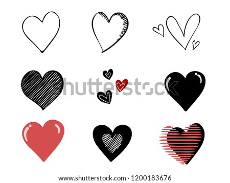 isolated childish hand drawn hearts symbol element vector design