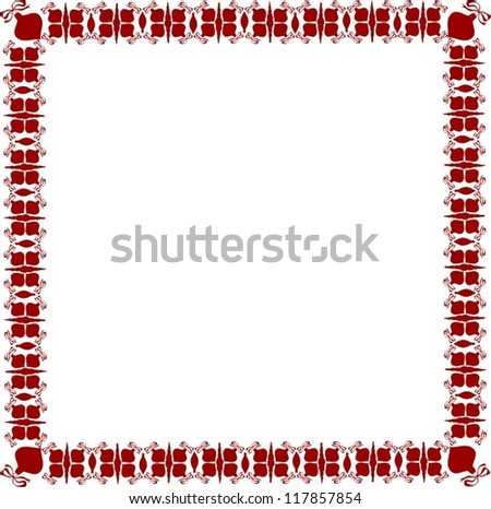 Isolated Christmas Red Frame on White Background, Vector Illustration
