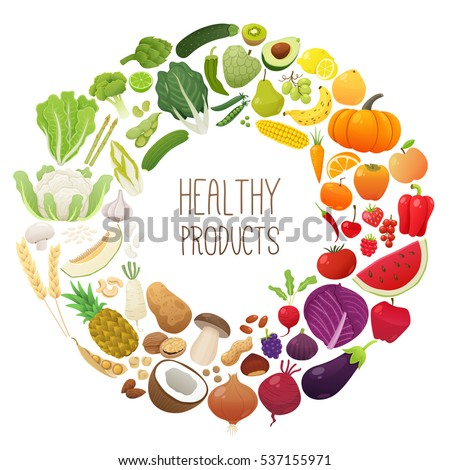 Isolated chromatic wheel made of fruits and vegetables. Healthy food concept. Vector illustration.