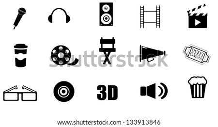 Isolated, cinema icon set on white background vector.