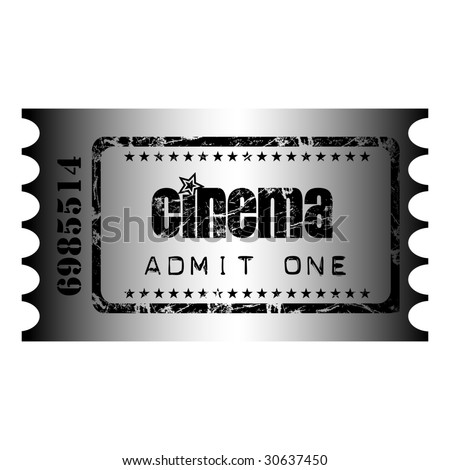 small stars clip art. stock vector : Isolated cinema ticket with small stars and the text admit