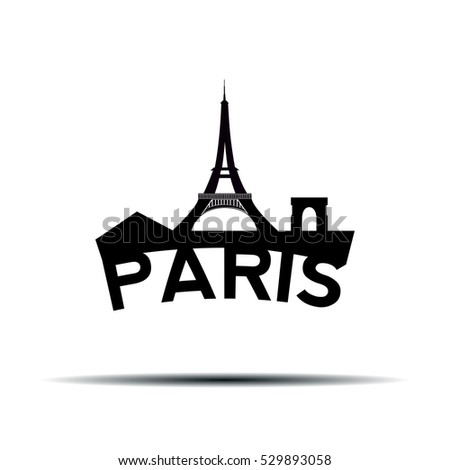Isolated cityscape of Paris with text, Vector illustration
