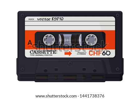 Isolated classic audio cassette. Vector multi colored illustration on light background. Original vintage object. ESP10.