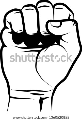 isolated clenched fist - line art illustration