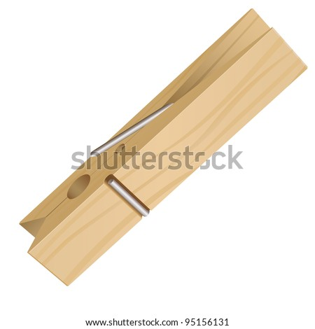 Isolated Clothes Peg on a White Background for Design