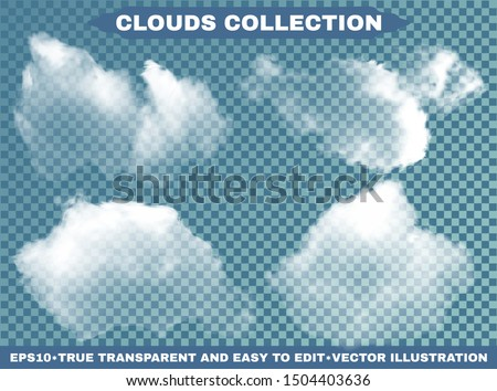 Isolated clouds on a blue sky background. Vector illustrations kit. Vibrant template with soft colors. White realistic natural and transparent elements. Thunderclouds or smoke.