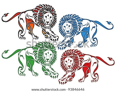 isolated colored lion drawing - vector illustration