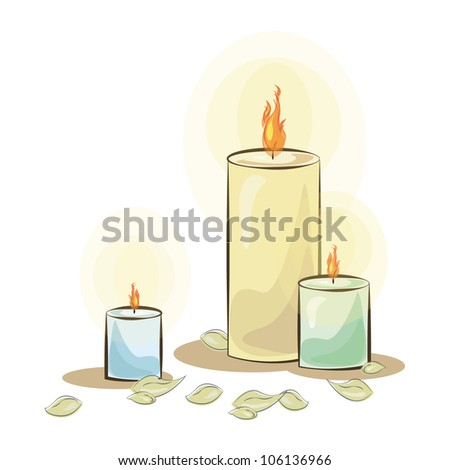 Isolated colorful candle. Vector illustration.