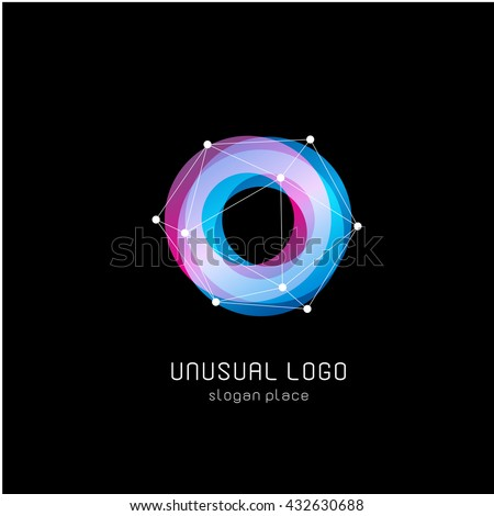 Isolated colorful circular shape vector logo. Sweet blue and pink donut image.  Foto stock ©
