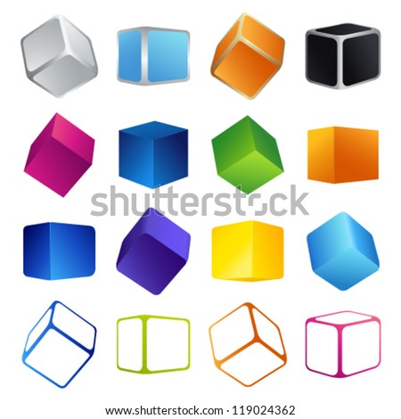 Isolated colorful 3d shape cubes. Vector illustrations on white background