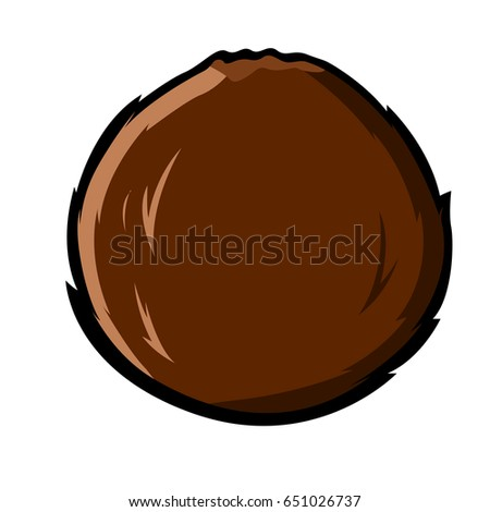 Isolated comic coconut on a white background, Vector illustration