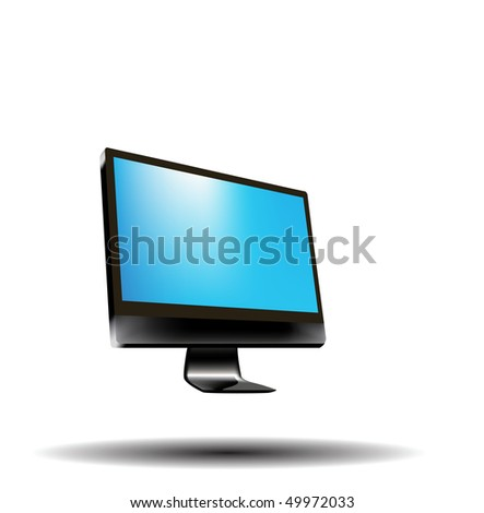 isolated computer screen, can replace message or image on screen.