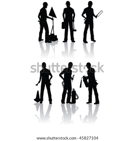 Isolated construction workers vector silhouettes with different tools
