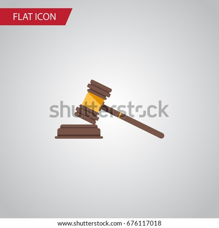 Isolated Crime Flat Icon. Court Vector Element Can Be Used For Crime, Court, Hammer Design Concept.