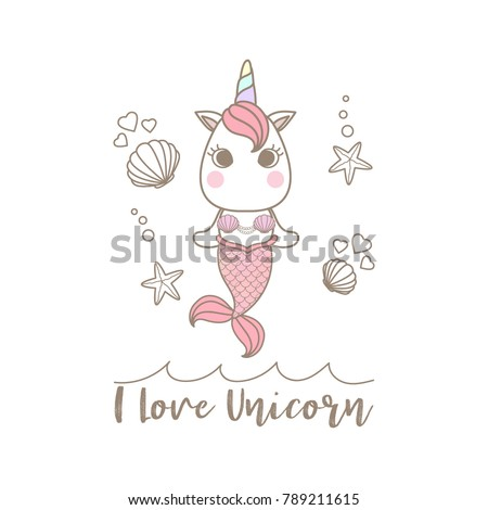 isolated cute little unicorn