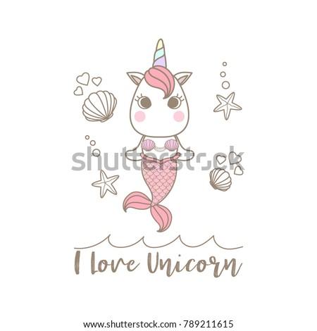 isolated cute little unicorn