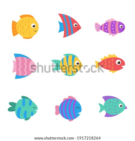 Isolated cute sea fish. Set of freshwater aquarium cartoon fish for print, children development. Varieties of decorative colored fish, flat geometric fish design