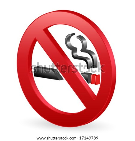 Isolated 3D no smoking sign. Vector illustration.