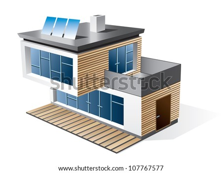 Isolated 3d vector icon of modern family house with wood facade. Check my portfolio for more building types