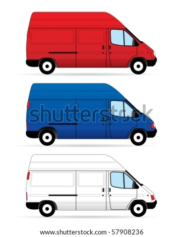 Isolated Delivery Vans on white background. Vector illustration - stock vector