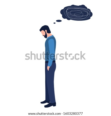 Isolated depression man with bowed head and metaphorical thinks on a white background. Concept of confusion of mind, messy thoughts, anxiety disorders, mental illness, stress. Vector illustration.