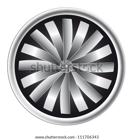 isolated detailed black and white light view on airplane motor vector illustration