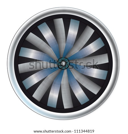 isolated detailed blue light view on rotating airplane motor vector illustration