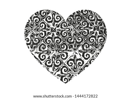 Isolated distress grunge heart with floral eastren ornament, flower and leaves texture. Element for greeting card, Valentine s Day, wedding. Creative concept. Vector illustration #1444172822