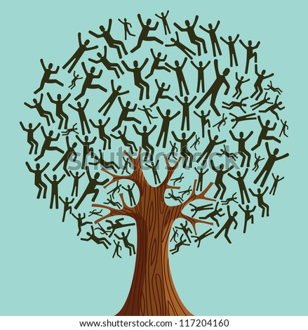 Isolated Diversity tree people illustration. Vector file layered for easy manipulation and custom coloring.