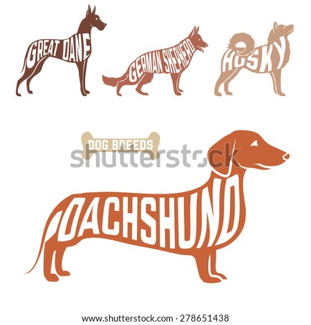 isolated dog breed silhouettes