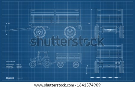Isolated drawing of tractor trailer in outline style. Side, front and back view of agriculture machinery. Farming machinery on white background. Industrial blueprint. Vector illustration