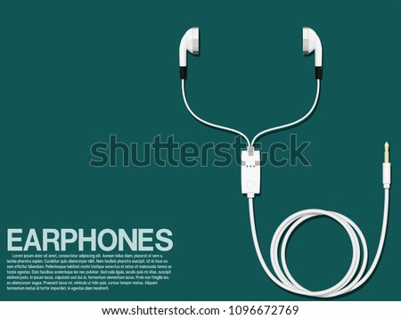 Isolated earphones on transparent background