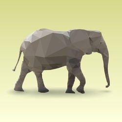 Isolated Elephant made with triangles. Vector polygonal illustration
