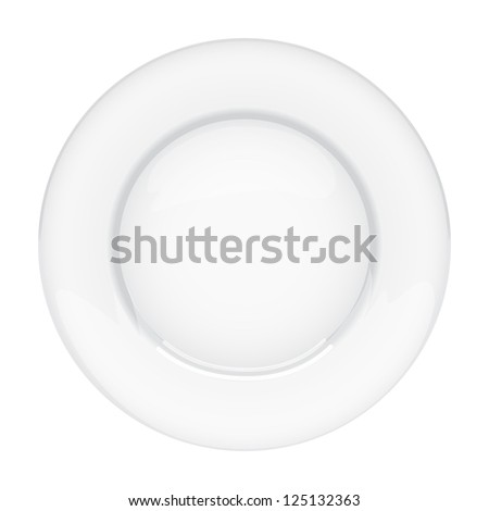 Isolated empty plate on white background