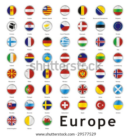 isolated european flags