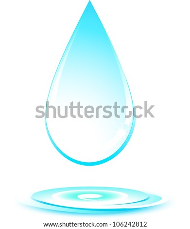 isolated falling water drop silhouette on white background