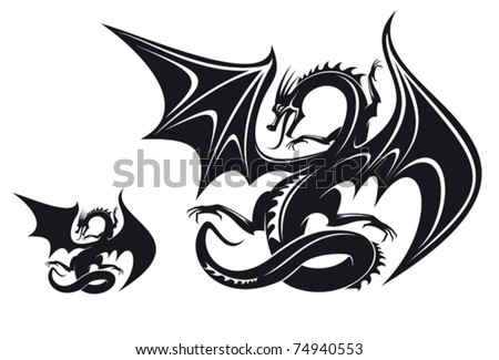 isolated fantasy black dragon