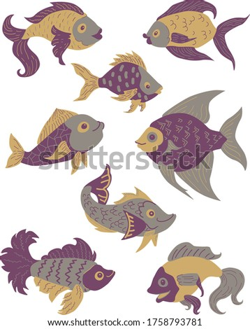 Isolated fish set. Set of freshwater aquarium cartoon fishes. Purple, gold, violet and grey colors. Flat design fish. Vector illustration, fishes. fish collection. Wild modern flat fishes.
