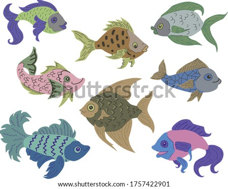 Isolated fish set. Set of freshwater aquarium cartoon fishes. Varieties of ornamental popular color fish. Flat design fish. Vector illustration, fishes. fish collection. Wild modern flat fishes.