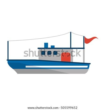 Isolated fishing boat ship design