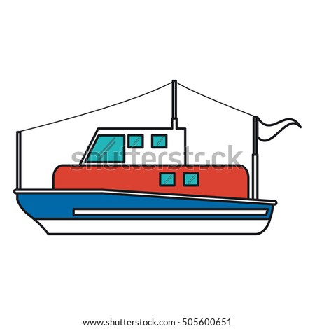 Isolated fishing boat ship design