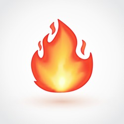 Isolated flame emoticon on light grey background