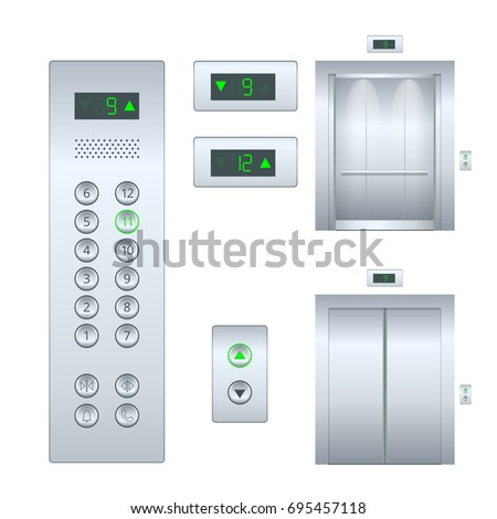 Isolated flat illustration Open and closed chrome metal office building elevator doors realistic hall interior  and button panel. Flat Elevator design set