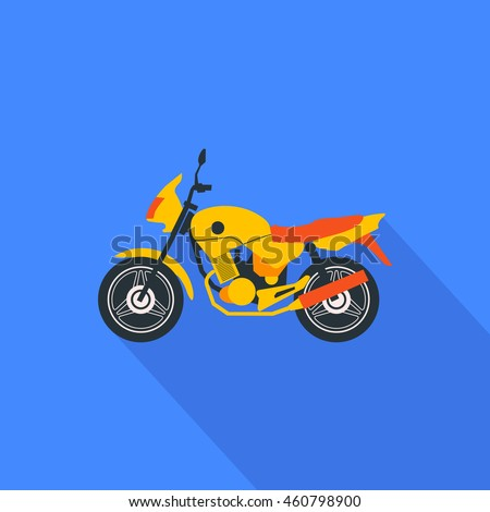 isolated flat style motorcycle