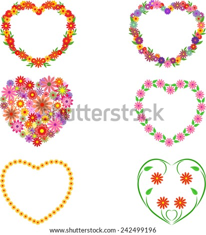 isolated flowers hearts vectors