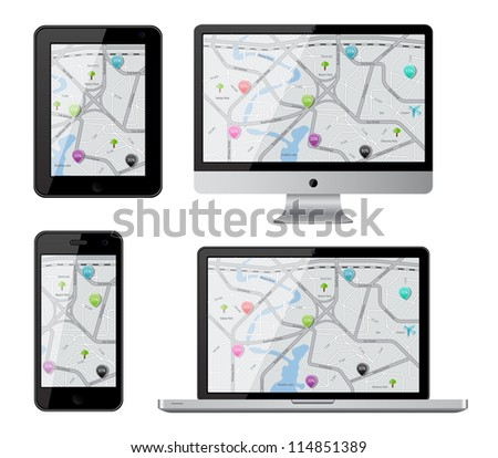 Isolated gadgets with street map. EPS10 vector illustration.
