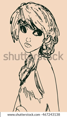 isolated girl sketch anime