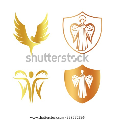 isolated golden color angel