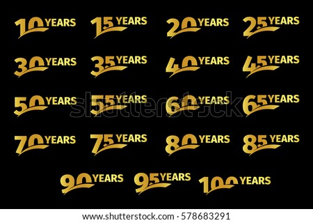 Isolated golden color numbers with word years icons collection on black background, birthday anniversary greeting card elements set vector illustration