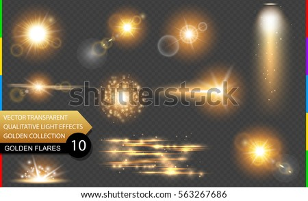 isolated golden lens flare